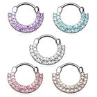 New Double Cubic Zirconia Gem Paved Septum Clicker Nose Daith Ring 16g