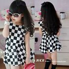 New Fashion Girls Kids Toddlers Fashion Plaid Patterns Vest Dress 3-8 Y D294-1