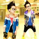 Kids Toddlers Boys Spell Color Hoodie Jackets Coats Sportswear Lined 4-8 Y T223