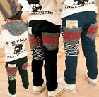 Kids Toddlers Boys Back Stripe Casual Pants Trousers 100% Cotton 3-8 Y P530
