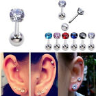 16G CZ Gem Round Steel Barbell Ear Tragus Cartilage Helix Studs Earring Piercing