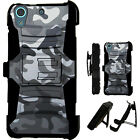 For HTC / Nokia Rugged Cover Kickstand Holster Case GREY CAMO LuxGuard