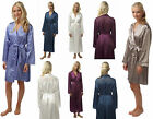 Ladies Satin Kimono Wrap Dressing Gown Silk Feel Navy Blue Polka Oriental Knee