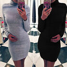 Womens Long Sleeve Stretch Sweater Tops Jumper Casual Party Bodycon Mini Dress