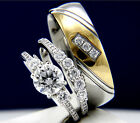 Women's Sterling Silver Engagement Men's Stainless Steel Wedding Bridal Ring Set