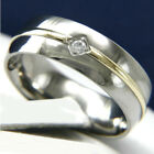 0.01 CT Clear Solitaire CZ Titanium Engagement Wedding Anniversary Band Ring