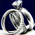 New 2.17 CT Clear Solitaire Engagement Stainless Steel Wedding Eternity Ring Set