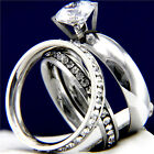 New 2.04 CT CZ Women's Engagement Stainless Steel Wedding Bridal Band Ring Set
