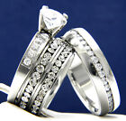 Solitaire Clear CZ Engagement 316L Stainless Steel Wedding Bridal Band Ring Set