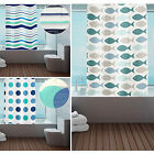 New Designer PEVA Shower Curtains with Ring Hooks - Blue - Waterproof Fabric
