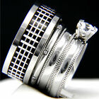 New 4 PCS Women's Engagement Stainless Steel Men's Wedding Bridal Band Ring Set