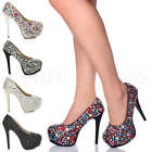 WOMENS LADIES HIGH HEEL PLATFORM EVENING GEMS DIAMANTE PARTY COURT SHOES SIZE