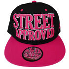 Baseball State Property Street Approved Black Pink Flat Peak Snapback Cap Hat