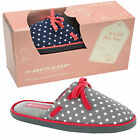 Womens Dunlop Slipper Gift Box Set New Ladies Spotted Polka Dot Print Mule Shoes