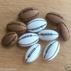 10 x novelty rugby ball buttons  white or brown 18mm wide shank on back