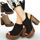 WOMANS LADIES PLATFORMS CHUNKY SANDALS BLOCK HIGH HEEL SLINGBACK SHOES NEW SIZE