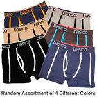 4 Mens Boxer Briefs 100% Cotton Underwear Color Trim Shorts Trunk Pairs S M L XL