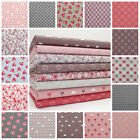 MINKS & PINKS 100% COTTON SMALL FLORAL AND GEOMETRIC FABRIC pink brown grey blue
