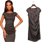 NEW WOMEN SLIM BODYCON DRESS SHORT SLEEVE O-NECK DOT PRINT PARTY CLUB MINI DRESS