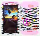 KoolKase Hybrid Silicone Cover Case for HTC One X S720e - Peace Zebra White