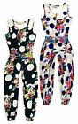Girls Vibrant Floral Jumpsuit New Kids Full Length Sleeveless Playsuit 3-12 Yrs