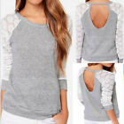 New Fashion Womens Casual Lace Long Sleeve Backless Cotton T Shirt Tops Blouse