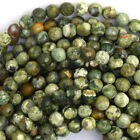 """Faceted Natural Rhyolite Round Beads Gemstone 15.5"""" Strand 4mm 6mm 8mm 10mm 12mm"""