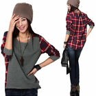Women Ladies Plaid Checked Long Sleeve Casual Loose T shirt Tops Blouse Fashion