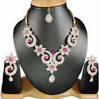 Indian Bollywood Designer CZ Necklace Earrings Bridal Jewellery Set C#07
