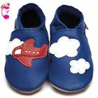Girls Boys Luxury Leather Soft Sole Baby Shoes - Aeroplane Clouds - Inch Blue