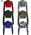 Womens Crop Top Polo Neck Ladies Long Sleeve Printed summer lot sizes 8-14