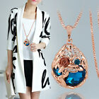 Fashion Women Crystal Rhinestone Pendant Gold Silver Plated Long Chain Necklace