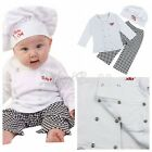 Baby Boy Boy Girl Cook Chef Photo Prop White Layette 3 Pieces Clothes Outfit Set
