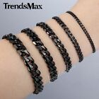 3/5/7/9/11mm MENS Chain Boys Black Tone Curb Link Stainless Steel Bracelet HOT