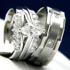 Stainless Steel Solitaire CZ Womens Engagement Mens Wedding Bridal Band Ring Set