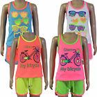 Girls Vest Top & Shorts Sets 2 Piece Kids Clothes Childrens Summer Ages 2-10 Yrs