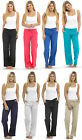 Ladies Linen Trousers Cotton Tie Waist Summer Viscose Bottoms Pants RIB BACK