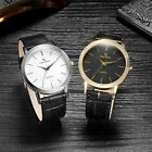 New Japan Movement Silver Gold Leather Dial Ultra-thin Men's Quartz Wrist Watch