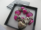 SPIRIT CHUNKY STRETCH HEART & BOW BOXED BRACELET hot pink purple green black new