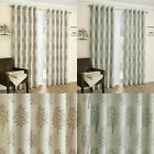 Embroidered Eyelet Curtains Fully Lined Mulberry Pattern with Tiebacks Ring Top