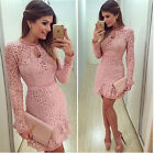 Women Sexy Long Sleeve Package Hip Short Mini Dress Lace Hollow Party Dress