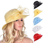 Womens Kentucky Derby Floral Wide Brim Church Dressy Wedding Sun Bridal Hat A323