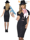 Ladies 1920s Gangster Moll Costume Adults 20s Sexy Pinstripe Fancy Dress Outfit