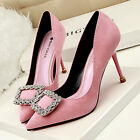 Women's OL Party Shoes Chic Rhinestone Buckle Pointed-toe High Heels Suede Pumps