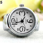 Womens Girls Sleek Brilliant Steel Round Dial Elastic Quartz Finger Ring Watch