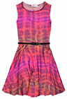Girls Neon Tie Dye Skater Dress New Kids Sleeveless Belted Dresses Ages 7-13 Yrs