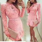 NEW Womens Long Sleeve Sexy LaceFormal/Evening/Party/Bodycon/Mini Skater Dress