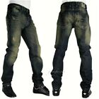 Mens Peviani vintage star denim jeans, urban hip hop g straight fit, green tint