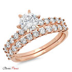 3.20 CT Simulated Engagement Ring Bridal band set  Round Cut Rose 925 Silver