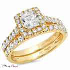 1.8 CT Princess Cut Sim Promise Bridal Ring band set  Yellow Sterling Silver RP